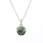 Floral Drop Paua Shell Necklace - Byzantium Collection