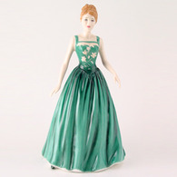 Royal Doulton HN4504 Pretty Ladies Andrea In Green Dress With Floral Motives