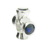 Truth Jewellery 443336 925 Silver Four Spinner Blue Sapphire CZ Charm Bead