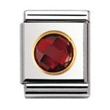 Nomination 032602/005 Composable Big Charm Cubic Zirconia Round Faceted Stainless Steel & 18k Gold Red