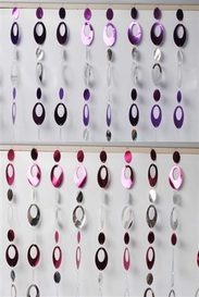 CURTAIN OVAL ROOM CHANDELIERS ROOM DIVIDER OR FLY SCREEN PURPLE OR FUSCHIA D18353/F