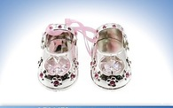 Leonardo LP16472 Silver Plated  CRYSTAL BABY SHOES PINK  Free Engraving
