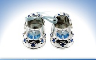Leonardo LP16473 Silver Plated  CRYSTAL BABY SHOES Blue  Free Engraving