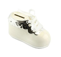 LP28065 Bootie Money Box Cream Silver Plated