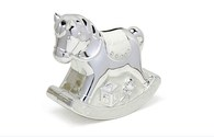 LP17512 Rocking Horse Money Box (Cream & Silver Plated)