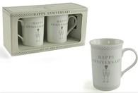 Leonardo LP33170 HAPPY ANNIVERSARY Mug (Set of 2)