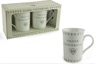 Leonardo LP33171 SILVER ANNIVERSARY MUGS (Set of 2)