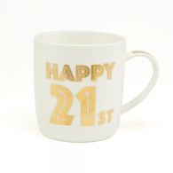 'Happy 21st Birthday' Mug In Gold Script Font LP33684 - Leonardo