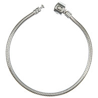 "Chamilia 6.5"" Sterling Silver Charm Bracelet With Silver Snap Clasp"