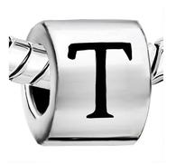 Chamilia Charms - T Initial Cylindrical Shaped Charm Sterling Silver