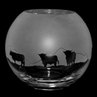 Large Glass Globe Vase With Highland Cattle Design