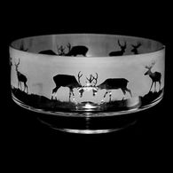 14cm Crystal Footed Comport Bowl With Stag Design