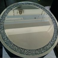 MOCHA ROUND MIRROR - DIAMOND CRUSH SPARKLE CRYSTAL £180