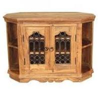 OCTAGONAL TV CABINET INDIAN SHEESHAM WOOD FURNITURE- COLLECT IN STORE